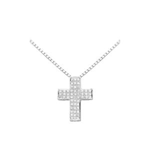 Pendente a croce scatolata con diamanti
