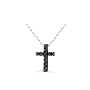 Pendente a croce con diamanti neri