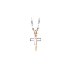 Pendente croce bicolore con diamanti