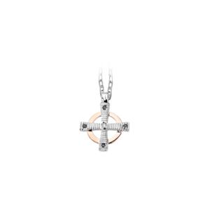 Pendente croce celtica con diamante bianco e diamanti neri