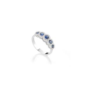 Anello veretta in oro bianco con pietre ovali e diamanti