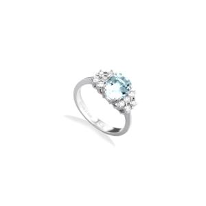 Anello in oro bianco con acquamarina e diamanti