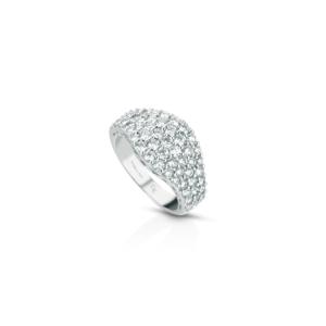 Anello a fascia in oro e diamanti