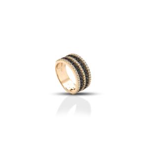 Anello a fascia in oro e diamanti bianchi e neri