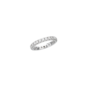 Anello veretta a giro in oro bianco e diamanti